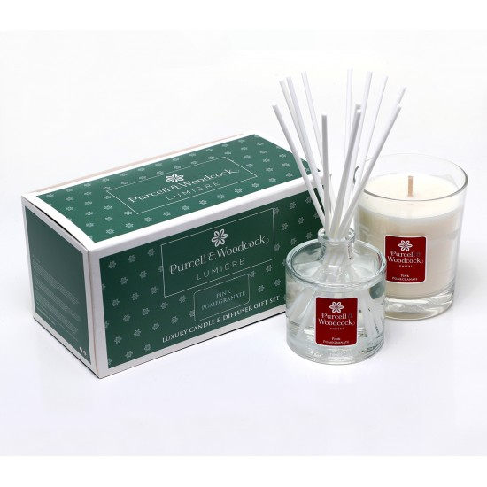 Purcell & Woodcock Lumiére Gift Set, Pink Pomegranate  Diffuser & Candle